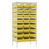 Akro-Mils Wire Shelving Kit, 24x36x74, 24 Bins, Chrome/Yellow