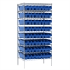 Wire Shelving Kit, 24x36x74, 64 Bins, Chrome/Blue