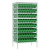 Wire Shelving Kit, 24x36x74, 64 Bins, Chrome/Green