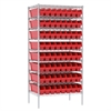 Wire Shelving Kit, 24x36x74, 64 Bins, Chrome/Red