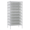 Akro-Mils Wire Shelving Kit, 24x36x74, 64 Bins, Chrome/Clear