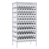 Akro-Mils Wire Shelving Kit, 24x36x74, 64 Bins, Chrome/White
