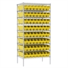 Wire Shelving Kit, 24x36x74, 64 Bins, Chrome/Yellow