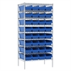 Akro-Mils Wire Shelving Kit, 24x36x74, 36 Bins, Chrome/Blue