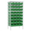 Akro-Mils Wire Shelving Kit, 24x36x74, 36 Bins, Chrome/Green