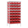 Akro-Mils Wire Shelving Kit, 24x36x74, 36 Bins, Chrome/Red