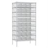 Akro-Mils Wire Shelving Kit, 24x36x74, 36 Bins, Chrome/Clear
