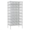 Wire Shelving Kit, 24x36x74, 36 Bins, Chrome/Clear