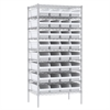 Akro-Mils Wire Shelving Kit, 24x36x74, 36 Bins, Chrome/White