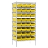 Akro-Mils Wire Shelving Kit, 24x36x74, 36 Bins, Chrome/Yellow