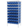 Akro-Mils Wire Shelving Kit, 24x36x74, 40 Bins, Chrome/Blue