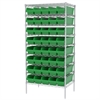Wire Shelving Kit, 24x36x74, 40 Bins, Chrome/Green