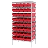 Akro-Mils Wire Shelving Kit, 24x36x74, 40 Bins, Chrome/Red
