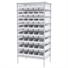 Wire Shelving Kit, 24x36x74, 40 Bins, Chrome/White