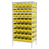 Wire Shelving Kit, 24x36x74, 40 Bins, Chrome/Yellow
