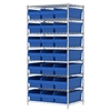 Wire Shelving Kit, 24x36x74, 24 Bins, Chrome/Blue