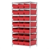 Akro-Mils Wire Shelving Kit, 24x36x74, 24 Bins, Chrome/Red
