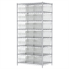 Wire Shelving Kit, 24x36x74, 24 Bins, Chrome/Clear