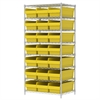 Wire Shelving Kit, 24x36x74, 24 Bins, Chrome/Yellow