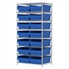 Akro-Mils Wire Shelving Kit, 24x36x74, 16 Bins, Chrome/Blue
