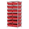 Akro-Mils Wire Shelving Kit, 24x36x74, 16 Bins, Chrome/Red