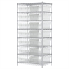 Wire Shelving Kit, 24x36x74, 16 Bins, Chrome/Clear