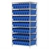 Wire Shelving Kit, 24x36x74, 56 Bins, Chrome/Blue