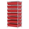 Wire Shelving Kit, 24x36x74, 56 Bins, Chrome/Red
