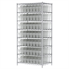 Akro-Mils Wire Shelving Kit, 24x36x74, 56 Bins, Chrome/Clear