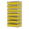 Akro-Mils Wire Shelving Kit, 24x36x74, 56 Bins, Chrome/Yellow
