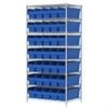 Wire Shelving Kit, 24x36x74, 40 Bins, Chrome/Blue
