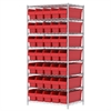 Wire Shelving Kit, 24x36x74, 40 Bins, Chrome/Red