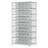Wire Shelving Kit, 24x36x74, 40 Bins, Chrome/Clear