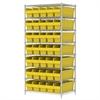Wire Shelving Kit, 24x36x74, 40 Bins, Chrome/Yellow