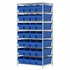 Wire Shelving Kit, 24x36x74, 32 Bins, Chrome/Blue