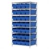 Akro-Mils Wire Shelving Kit, 24x36x74, 32 Bins, Chrome/Blue