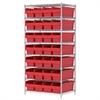 Wire Shelving Kit, 24x36x74, 32 Bins, Chrome/Red