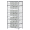 Akro-Mils Wire Shelving Kit, 24x36x74, 32 Bins, Chrome/Clear