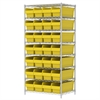 Akro-Mils Wire Shelving Kit, 24x36x74, 32 Bins, Chrome/Yellow