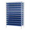 Akro-Mils Wire Shelving Kit, 24x48x74, 120 Bins, Chrome/Blue