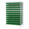 Akro-Mils Wire Shelving Kit, 24x48x74, 120 Bins, Chrome/Green