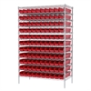 Wire Shelving Kit, 24x48x74, 120 Bins, Chrome/Red
