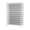 Akro-Mils Wire Shelving Kit, 24x48x74, 120 Bins, Chrome/Clear