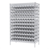 Akro-Mils Wire Shelving Kit, 24x48x74, 120 Bins, Chrome/White