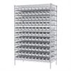 Wire Shelving Kit, 24x48x74, 120 Bins, Chrome/White