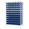Akro-Mils Wire Shelving Kit, 24x48x74, 66 Bins, Chrome/Blue