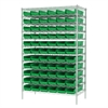 Wire Shelving Kit, 24x48x74, 66 Bins, Chrome/Green