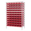 Wire Shelving Kit, 24x48x74, 66 Bins, Chrome/Red