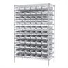Wire Shelving Kit, 24x48x74, 66 Bins, Chrome/White
