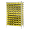 Akro-Mils Wire Shelving Kit, 24x48x74, 66 Bins, Chrome/Yellow